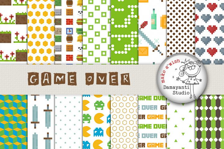 Pixel Arcade Games, digital paper, pacman clipart, tetris, pixel patterns, wrapping, scrapbook papers, games papers, planner stickers