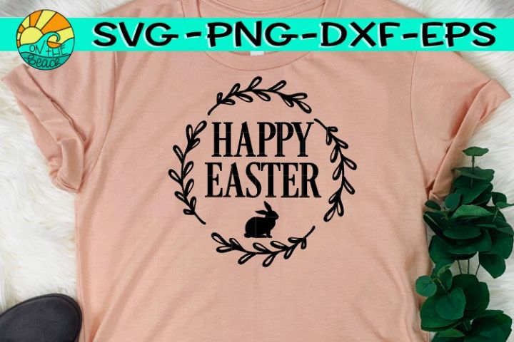 Happy Easter - Bunny - Wreath - SVG PNG EPS DXF