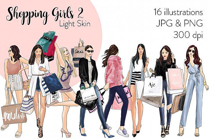 Fashion illustration clipart - Shopping Girls 2 - Light Skin