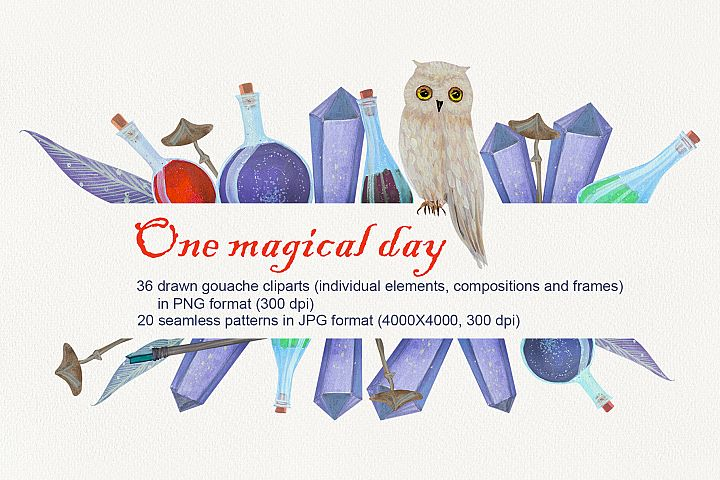 One magical day. Gouache set
