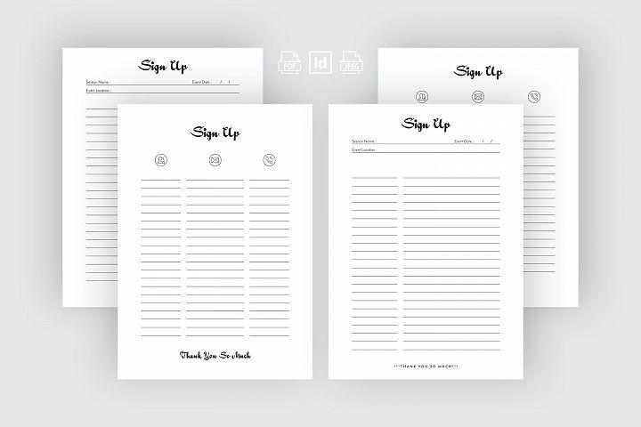 Editable Sign Up Sheet