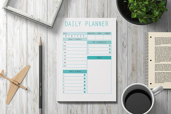 Daily Planner Printable 2019, Digital Planner Pages