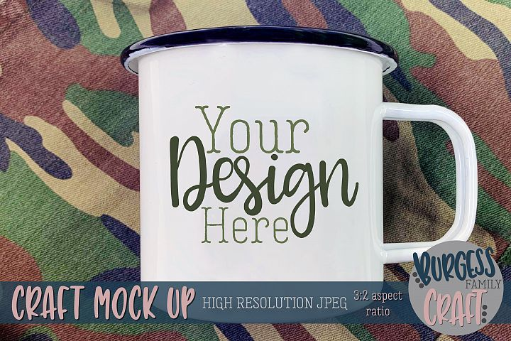 Mens camo white camp mug Craft mock up|High Resolution