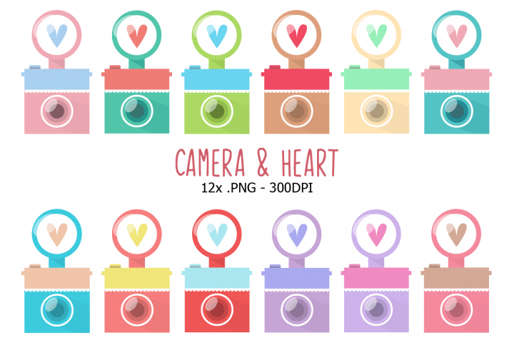 Camera and Heart Clipart