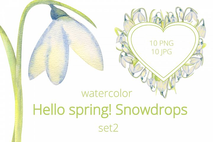 Romantic spring frames with snowdrops. Set 2