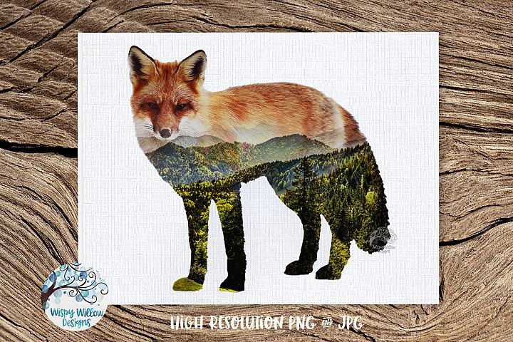 Double Exposure Mountain Fox PNG | Sublimation