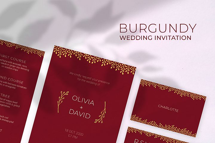 Burgundy Wedding Invitation
