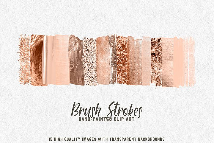 15 brush strokes clipart rose gold 2