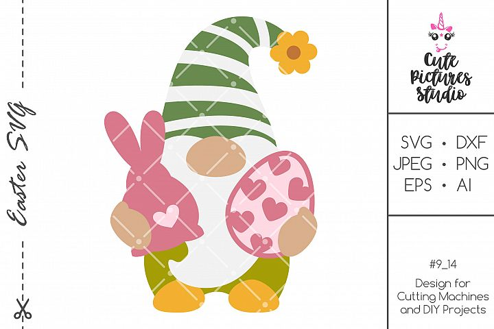 Easter gnome SVG PNG clip art, Gnome with easter eggs