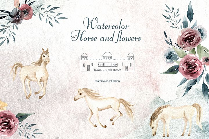 Watercolor Horse and flowers Flowers compositions Burgundy