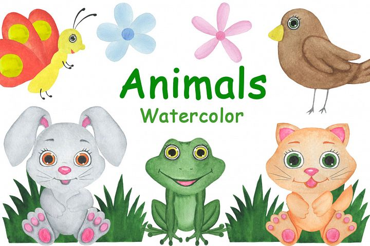 Animals watercolor childish illustration