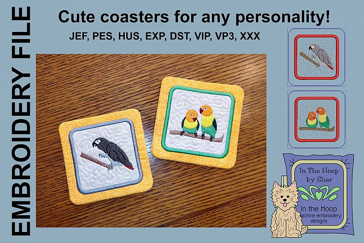 Pet Birds Coasters - 4 x 4 and 5 x 7 Hoops