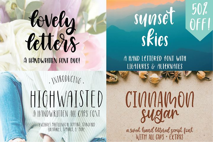 Four Hand Lettered Fonts Bundle by Jordyn Alison Designs