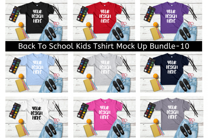 Back To School Kids T shirt Mock Up Bundle - 10