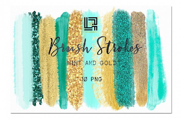Brush Strokes Clip Art. Mint and gold. Winter clipart.  Blue,mint  green, gold, glitter gold, sky blue strokes.  Digital Design Resource.