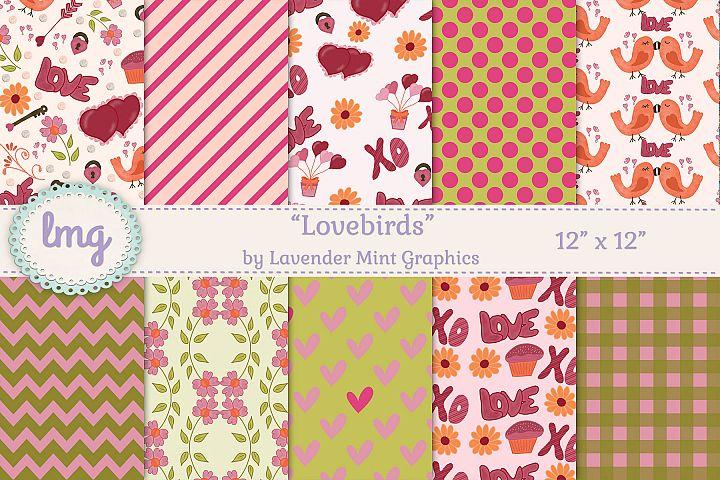 Lovebirds Valentines Day Digital Scrapbook Paper