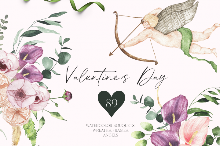 Valentines Day - watercolor floral clipart