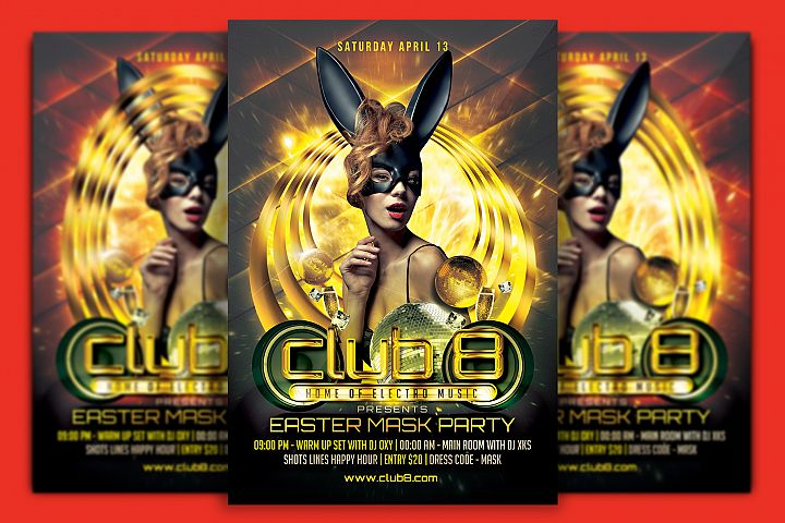Easter Mask Party Flyer Template