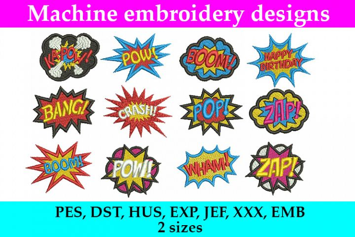 12 Comics Superhero Machine Embroidery Designs