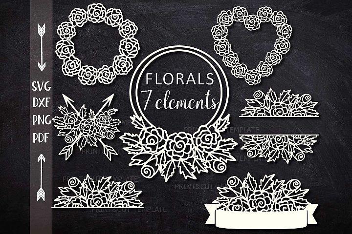 Florals Flowers Monograms, Border, Arrows bundle cut out svg