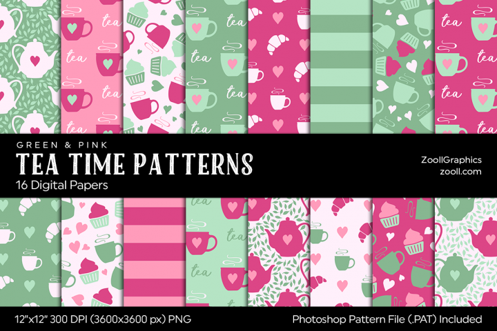 Tea Time Digital Papers Green & Pink