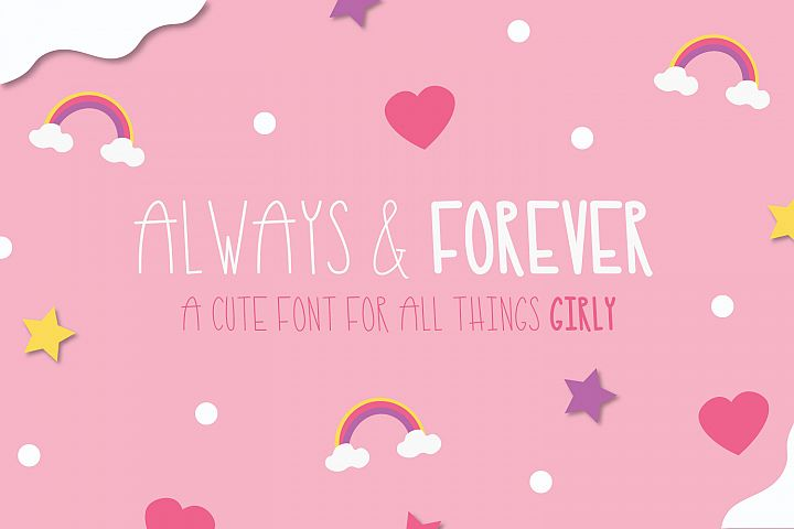 Always and Forever Font, Cute skinny tall font, girly font