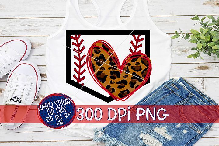Baseball Softball Leopard Print Heart Home Plate PNG For Sub