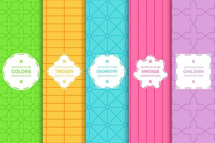 Trendy colorful geometric patterns