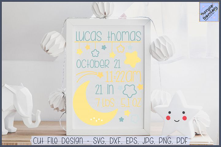 Night Time Birth Announcement - SVG, Clipart, Printables