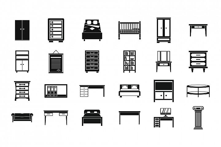 Furniture icon set, simple style