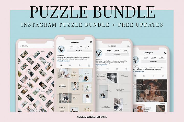 Instagram Puzzle Bundle - Instagram Grid & FREE Updates