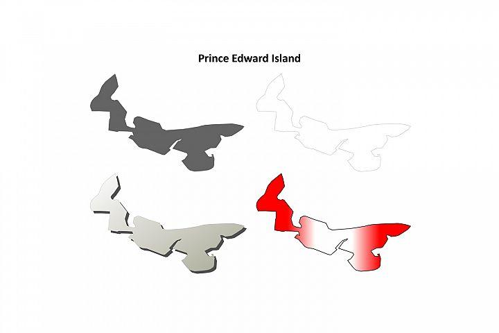 Prince Edward Island blank outline map set