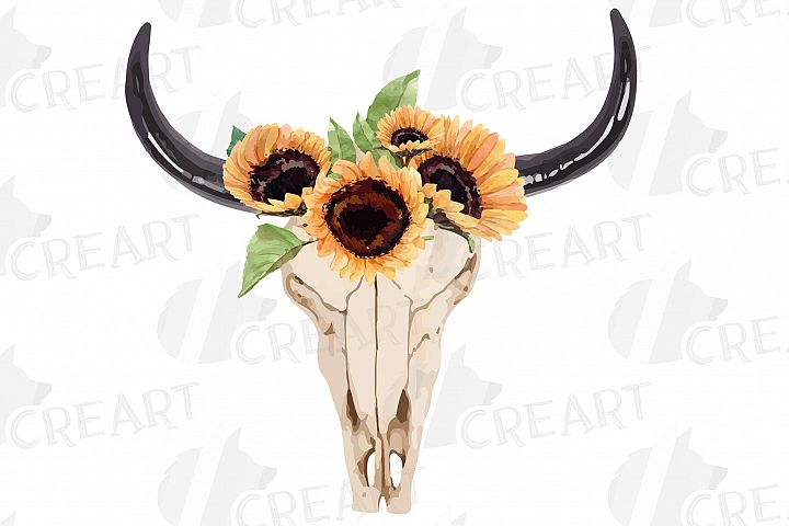 Bull Skull with sunflowers clip art. Indian tribal decor