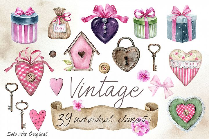 Vintage Valentines day, old home decor. Watercolor clipart.