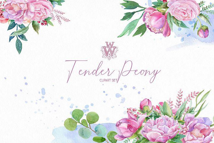 Watercolor peonies floral bouquets clipart, peony wreath