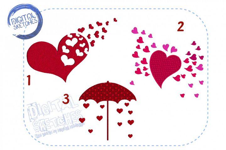 3 Designs Love Heart Rain Set Bundle Machine Embroidery