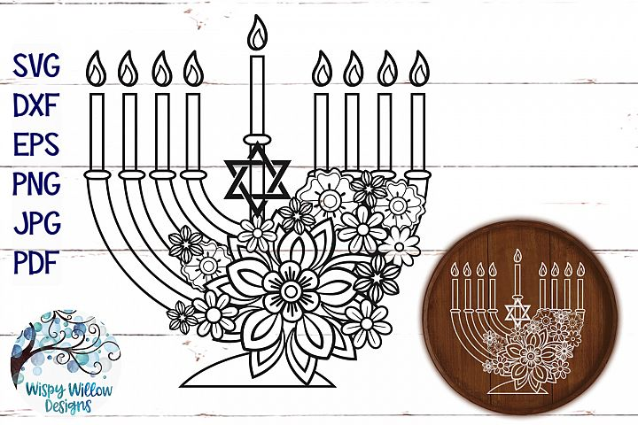 Floral Menorah SVG | Hanukkah SVG Cut File