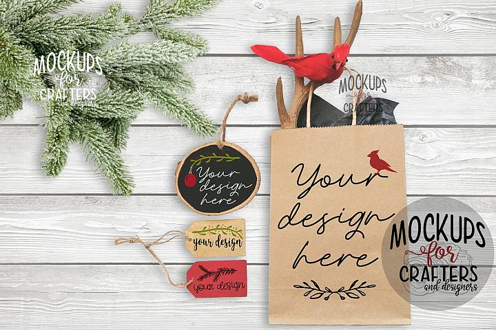 Gift Bag, Gift Tags & Wood Ornament - 3 in 1 Mock-Up