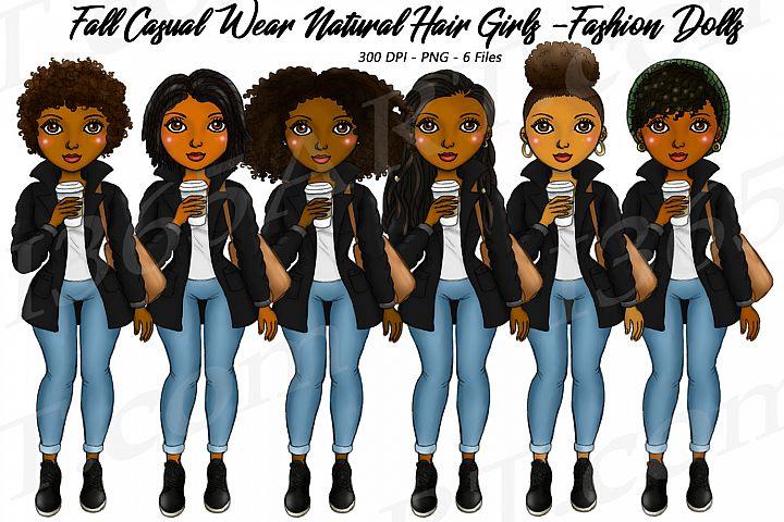 Fall Casual Wear Autumn Girls Natural Hair Planner Clipart