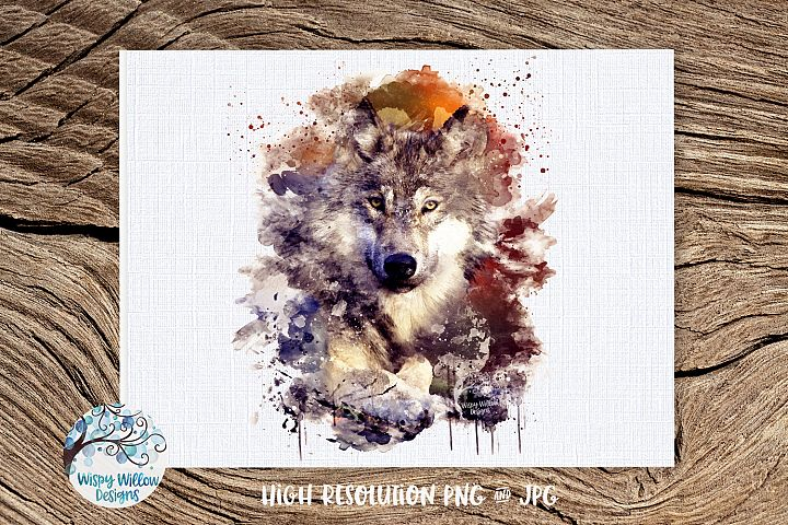 Watercolor Wolf   PNG and JPG   Sublimation