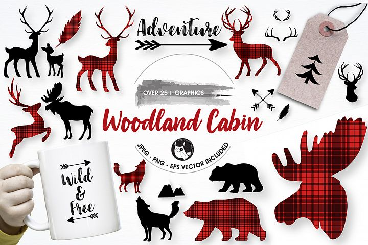 Woodland cabin graphics and illustrations - Free Design of The Week