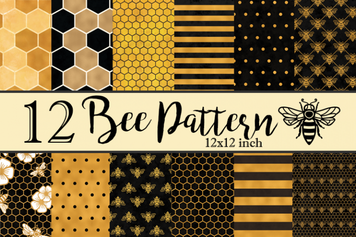 12 Bee Backgrounds Textures Patterns Bundle JPEG 12X12 inch