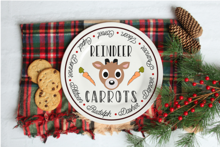 Reindeer Christmas Plate svg cut file