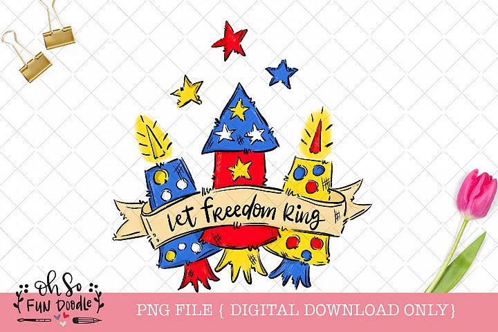 Let freedom ring, fireworks sublimation design