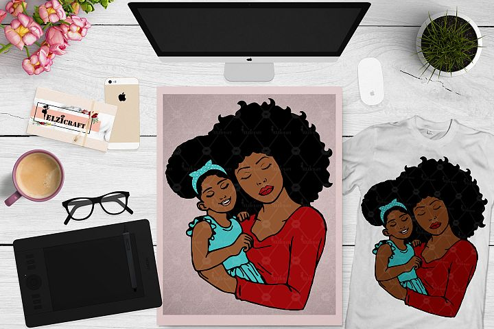 Afro Woman, Mommy and me, Mother and daughter SVG Cut File