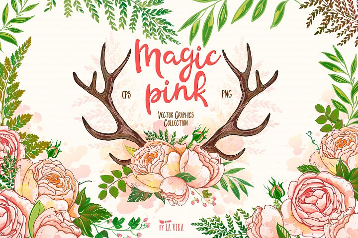 Vector graphics collection: Magic pink