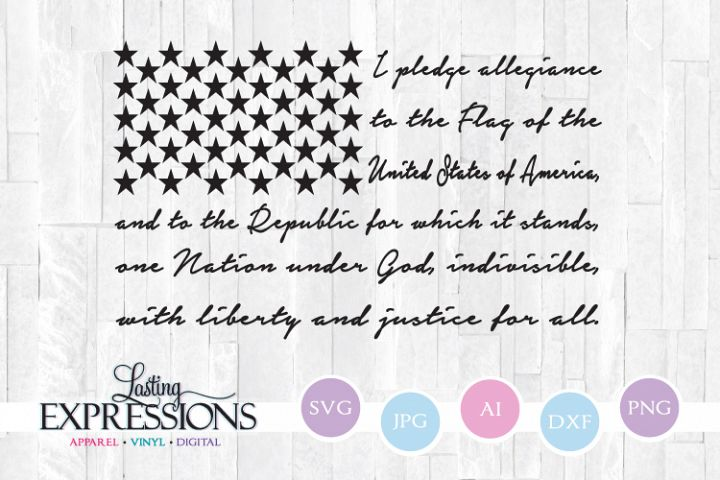 American Flag Pledge Quote SVG