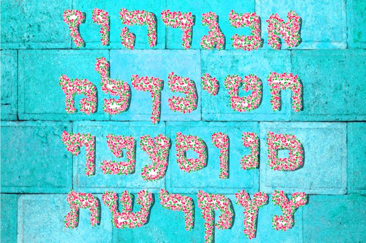 Flower pink Hebrew alphabet. Beautiful spring Hebrew letters from floral graphic elements.