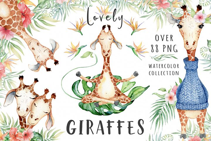 Lovely Giraffes watercolor illustration