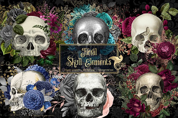 Floral Skull Graphic Elements
